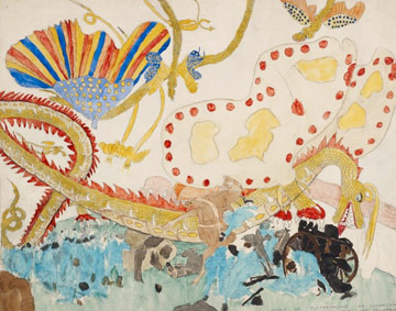Henry Darger, Attack of the Tuskahorians, c.1932-72