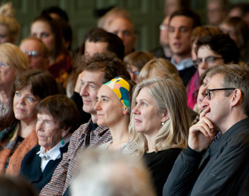 Faces of audience seated in the Whitworth Grand Hall